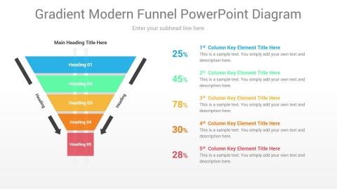 Gradient Modern Funnel PowerPoint Diagram