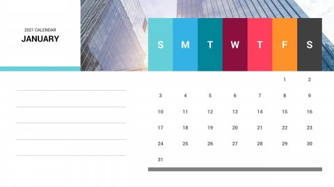 January 2021 Calendar PowerPoint Template