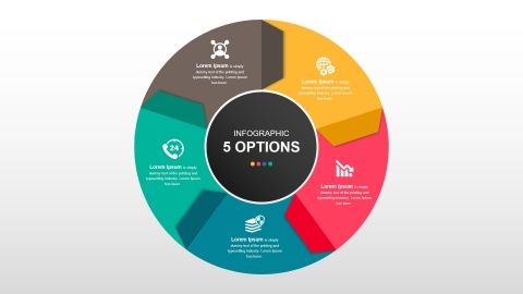 Round Infographic Diagram With Folded Arrows PowerPoint Template