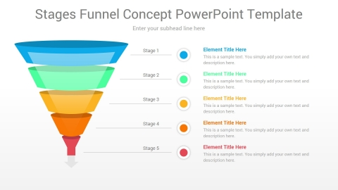 Stages Funnel Concept PowerPoint Template